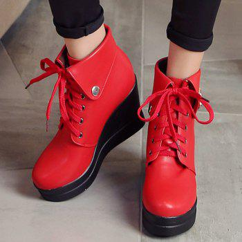 Buckle Wedge Heel Lace-Up Bottes Courtes - Rouge 37