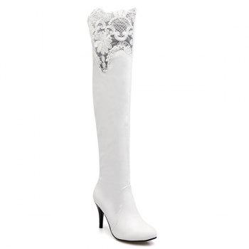 Stiletto Heel Lace Spliced Thigh High Boots