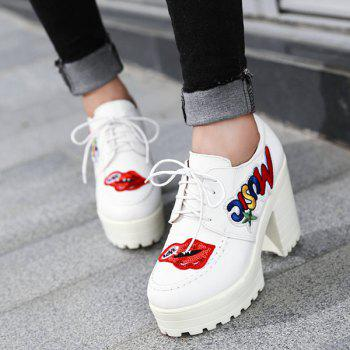 Lace-Up Sequined Appliques Platform Shoes - WHITE 39