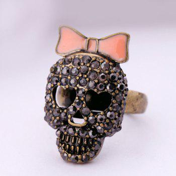 Bowknot Skull Cut Out Rhinestone Ring