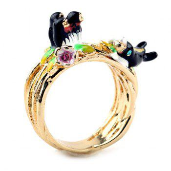 Enamel Alloy Bird Ring