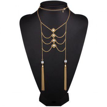 Symmetrical Artificial Turquoise Fringe Sweater Chain