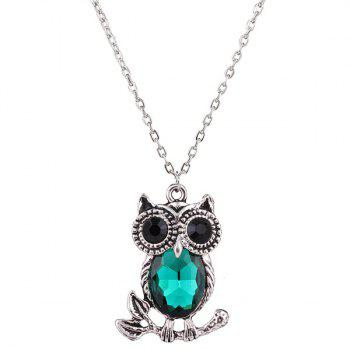 Ornate Owl Rhinestone Sweater Chain - BLACKISH GREEN
