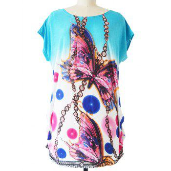 3D Butterfly Print Chain Pattern Baggy T-Shirt