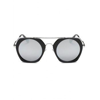 Joy-Ride Irregular Frame Round Lens Mirrored Sunglasses - SILVER