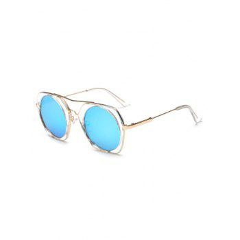 Joy-Ride Irregular Frame Round Lens Mirrored Sunglasses