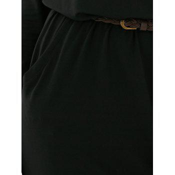 Boat Neck Elastic Waist Belted Dress - BLACK XL