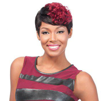 Wine Red Highlight Short Curly High Temperature Fiber Wig