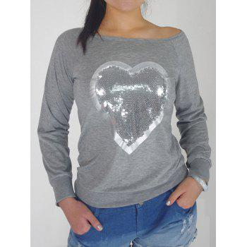 Sequin Embellished Heart Pattern Sweatshirt