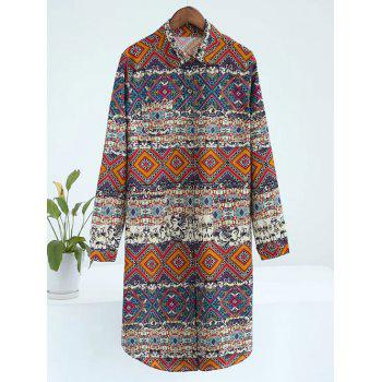 Plus Size Geometric Print Button Up Shirt Dress
