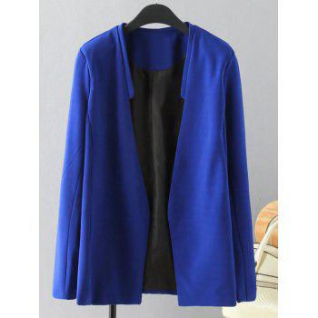 Plus Size Solid Color Loose-Fitting Blazer - BLUE 3XL
