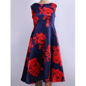 Retro Style Floral Print Flare Dress