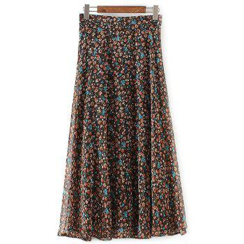 Casual Tiny Floral Print Chiffon Skirt