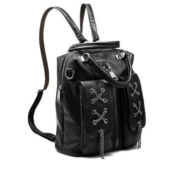 Zippers Chains PU Leather Backpack
