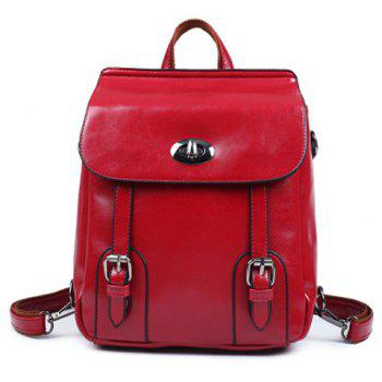 PU Leather Double Buckle Twist-Lock Closure Backpack