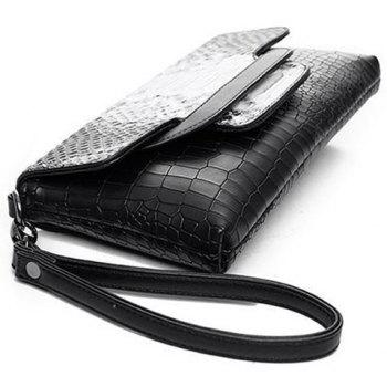 Color Splicing Plaid Pattern Embossing Clutch Bag -  WHITE/BLACK