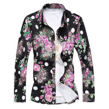 Turn-Down Collar Long Sleeve Plus Size 3D Roses and Peacock Feathers Print Shirt