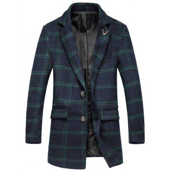 Tartan Plus Size Lapel Single-Breasted Long Sleeve Woolen Coat