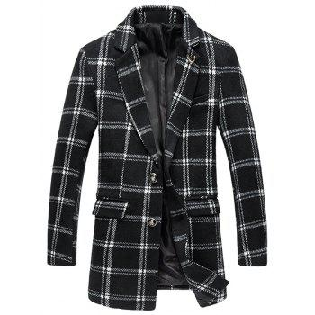 Buy Tartan Plus Size Lapel Single-Breasted Long Sleeve Woolen Coat WHITE/BLACK