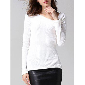 Skew Collar Long Sleeves Sweater - WHITE M