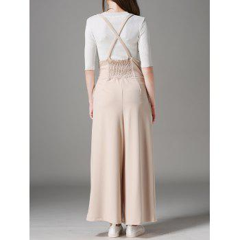 High Waist Loose Fitted Overalls - APRICOT M