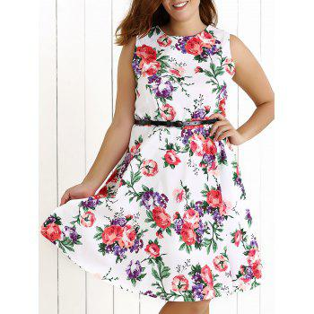 Plus Size Sleeveless Floral Swing Dress