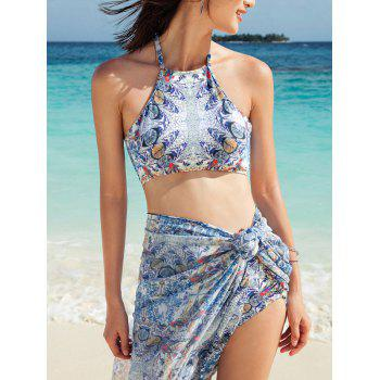 Paisley Print Hawaiian Tankini with Cover-Up Sarong Wrap