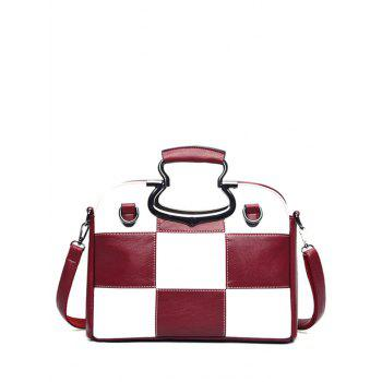 Color Block Plaid Tote Bag