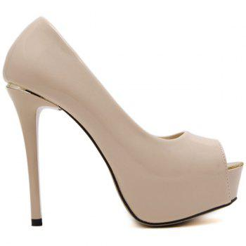 Stiletto talon cuir verni Peep Toe Shoes