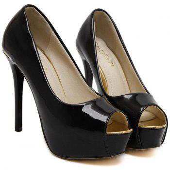 Stiletto talon cuir verni Peep Toe Shoes - Noir 37
