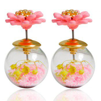 Pair of Resin Flower Glass Ball Double end Earrings