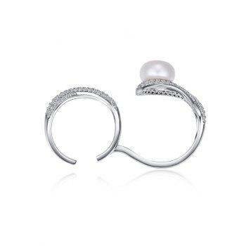 Rhinestoned Faux Pearl Infinite Cuff Ring - ONE-SIZE ONE-SIZE