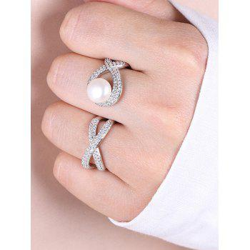 Rhinestoned Faux Pearl Infinite Cuff Ring - SILVER ONE-SIZE