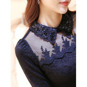 Flat Collar Rhinestone Mesh Spliced Translucent Lace Blouse - S S