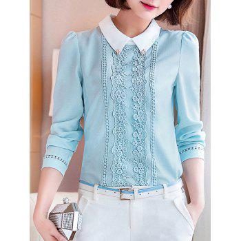 Long Sleeve Lace Floral Embroidered Chiffon Formal Shirt - LIGHT BLUE L