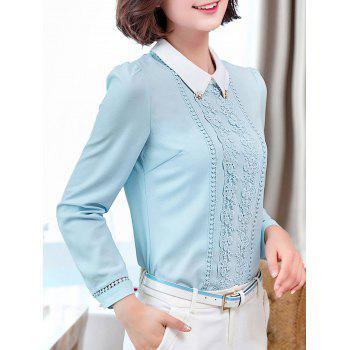 Long Sleeve Lace Floral Embroidered Chiffon Formal Shirt - L L