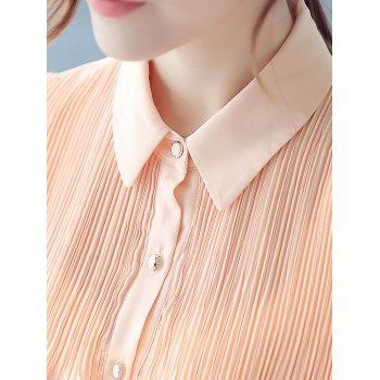 Flounced Pleated Long Sleeve Shirt - PINK PINK