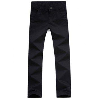 Casual Style Straight Leg Zipper Fly Chino Pants