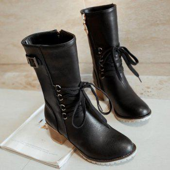 Buckle Mid-Calf Lace-Up Boots - BLACK BLACK