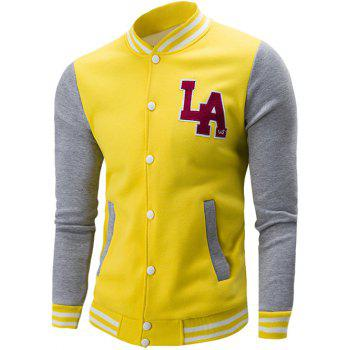 Rib Spliced Color Block Letter Pattern Baseball Jacket - YELLOW XL