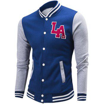 Buy Rib Spliced Color Block Letter Pattern Baseball Jacket DEEP BLUE