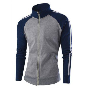 Stand Collar Raglan Sleeve Zipper-Up Striped Jacket - GRAY GRAY