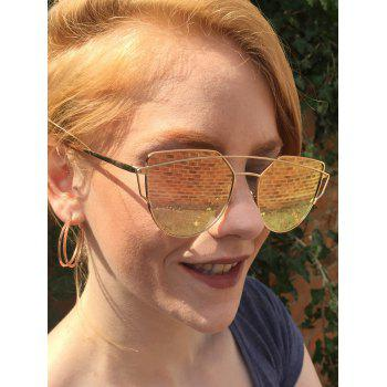 Fashion Metal Bar Golden Frame Mirror Pilot Sunglasses
