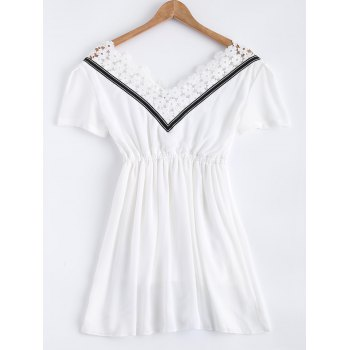 V Neck Short Sleeve Lace Splice  Chiffon Dress