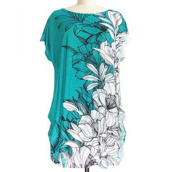 Short Sleeve Casual Floral Print Loose-Fitting T-Shirt - WHITE AND GREEN ONE SIZE