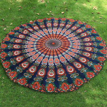 Indian Retro Style Bikini Boho Swimwear Mandala Feather Pattern Chiffon Round Beach Throw