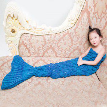 Warmth Comfortable Knitting Sofa Mermaid Blanket For Kids -  LAKE BLUE