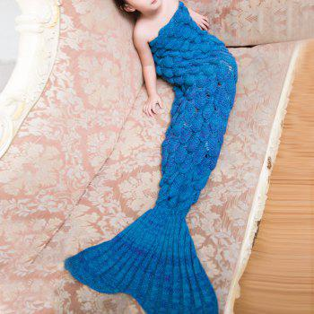 Warmth Comfortable Knitting Sofa Mermaid Blanket For Kids - LAKE BLUE LAKE BLUE