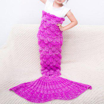 Warmth Comfortable Knitting Sofa Mermaid Blanket For Kids - ROSE RED ROSE RED