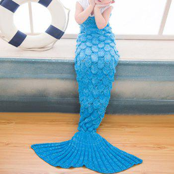 Warmth Comfortable Knitting Sofa Mermaid Blanket For Kids - BRIGHT BLUE BRIGHT BLUE